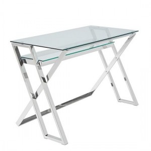 Levi Clear Glass Computer Desk In Silver Strainlees Steel Frame