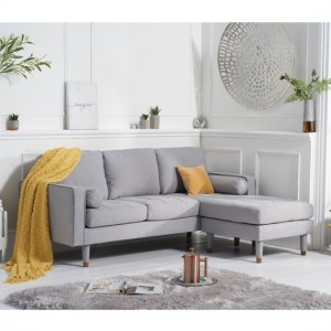 Liam Linen 3 Seater Reversible Chaise Corner Sofa In Grey