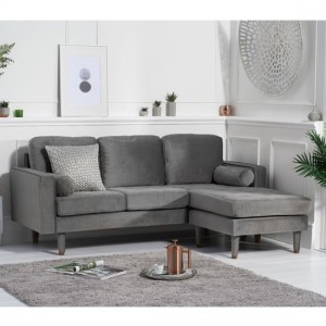 Liam Velvet 3 Seater Reversible Chaise Corner Sofa In Grey
