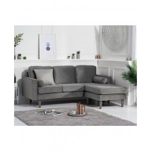 Aldonia Grey Velvet 3 Seater Reversible Chaise Sofa