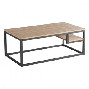 Licata Wooden Coffee Table In Latte With Metal Black Painted Legs