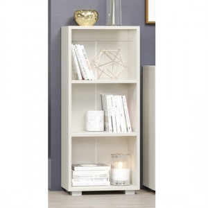 Lido Wooden Low Narrow Bookcase In White High Gloss