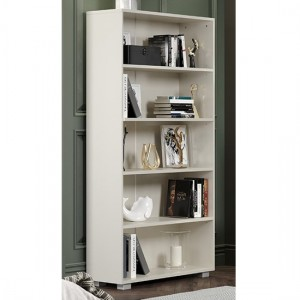 Lido Wooden Tall Bookcase In White High Gloss