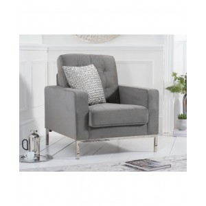 Kosmo 1 Seater In Velvet Grey With Metal Legs