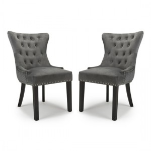 Lionhead Grey Velvet Dining Chairs In Pair With Black Rubberwood Legs