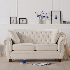 Liv Chesterfield Fabric Upholstered 2 Seater Sofa In Ivory