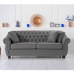 Liv Chesterfield Fabric Upholstered 3 Seater Sofa In Grey