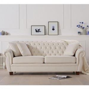 Liv Chesterfield Fabric Upholstered 3 Seater Sofa In Ivory