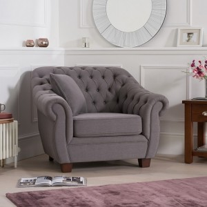 Liv Chesterfield Fabric Upholstered Armchair In Grey