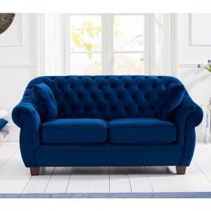 Liv Chesterfield Plush Fabric Upholstered 2 Seater Sofa In Blue