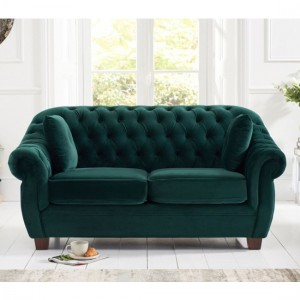 Liv Chesterfield Plush Fabric Upholstered 2 Seater Sofa In Green