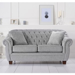 Liv Chesterfield Plush Fabric Upholstered 2 Seater Sofa In Grey