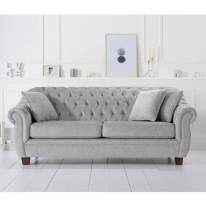 Liv Chesterfield Plush Fabric Upholstered 3 Seater Sofa In Grey