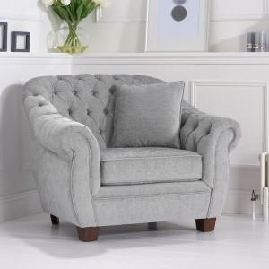 Liv Chesterfield Plush Fabric Upholstered Armchair In Grey