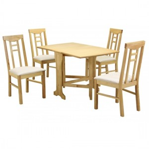 Liverpool Gateleg Wooden Dining Set In Natural With 4 Chairs