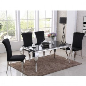 Liyana Black Glass Top Marble Dining Table With 4 Liyana Black Chairs