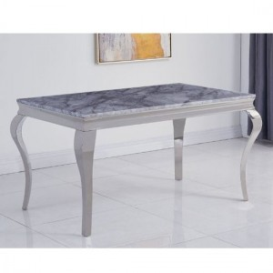 Liyana Large Grey Marble Dining Table With Chrome Metal Legs
