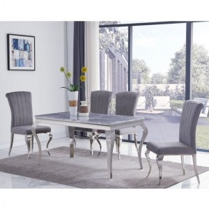 Liyana Large White Marble Dining Table With 6 Liyana Grey Chairs