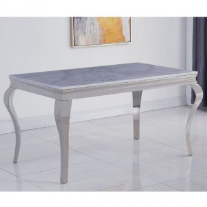 Liyana Large White Marble Dining Table With Chrome Metal Legs