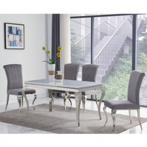 Liyana Small Grey Marble Dining Table With 4 Liyana Grey Chairs