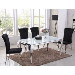 Liyana White Glass Top Marble Dining Table With 4 Liyana Black Chairs