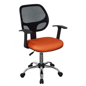 Loft Black Mesh Back Home Office Chair With Orange Fabric Seat