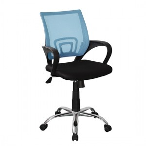 Loft Blue Mesh Back Study Chair In Black Fabric Seat With Chrome Base