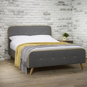 Loft Fabric Upholstered Double Bed In Grey