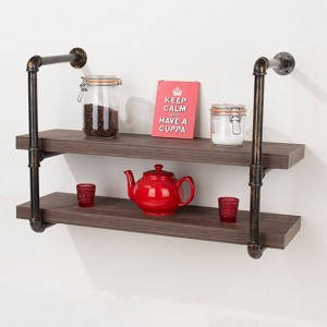 Loft Home Studio Occasional Double Wall Shelf With Pipe Design Brackets