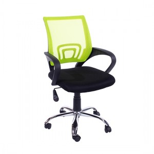 Loft Lime Green Mesh Back Study Chair Black Fabric Seat With Chrome Base