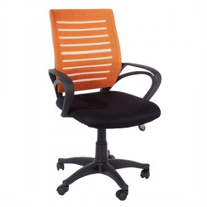 Loft Orange Mesh Back Study Chair With Arms With Black Fabric Seat