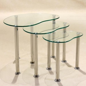 Logan Clear Glass Nest Of Tables With Stainless Steel Legs