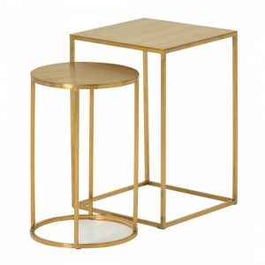 Lola Mirrored Top Nest Of Tables In Gold Strainlees Steel Frame