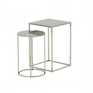 Lola Mirrored Top Nest Of Tables In Silver Strainlees Steel Frame