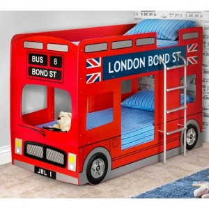 London Wooden Bus Bunk Bed In Red High Gloss