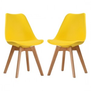 Louvre Yellow Dining Chairs In Pair