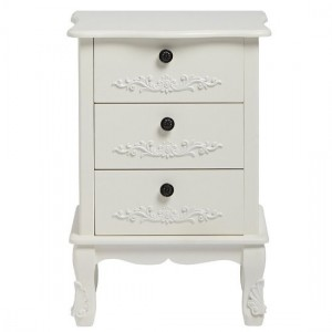 Harper Wooden Bedside Cabinet In White With 3 Drawers