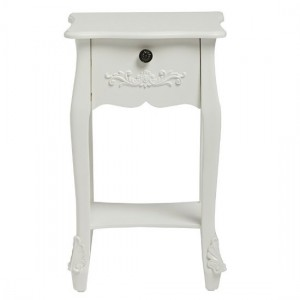 Harper Wooden Bedside Table In White With 1 Drawer