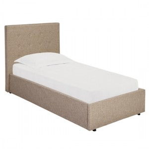 Lucca Plus Linen Upholstered Lift-Up Single Bed In Beige