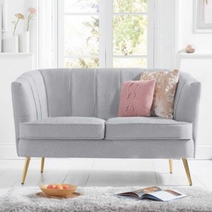 Lucena Linen Fabric Upholstered 2 Seater Sofa In Grey