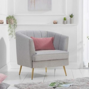 Lucena Linen Fabric Upholstered Armchair In Grey