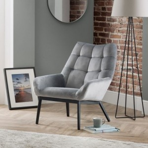 Lucerne Velvet Bedroom Chair In Grey With Black Metal Legs