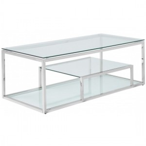 Lucia Clear Glass Coffee Table With Polished Stainless Steel Frame
