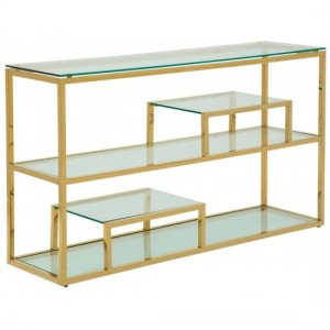 Lucia Clear Glass Console Table With Polished Golden Frame