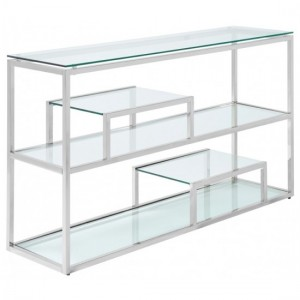 Lucia Clear Glass Console Table With Polished Stainless Steel Frame