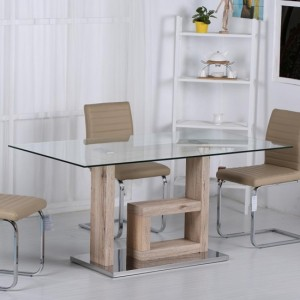 Lucia Clear Glass Dining Table With Natural Wooden Base