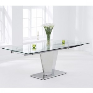 Lucille Extending Glass Dining Table With Chrome Stainless Steel Legs