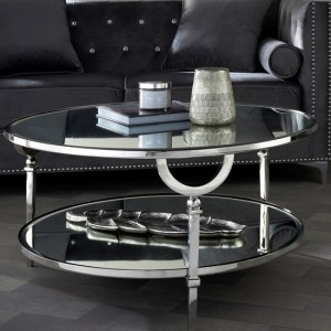 Lucknow Nickel Coffee Table With Mirrored Top