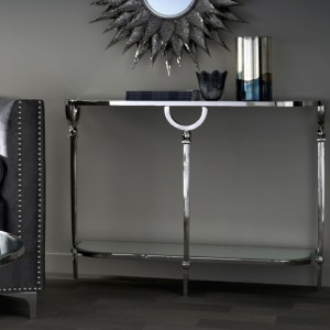 Lucknow Nickel Console Table With Mirrored Top