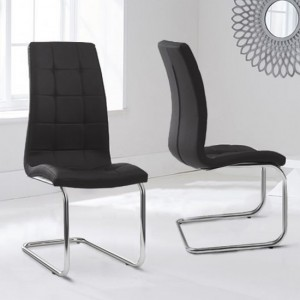 Lucy Black Faux Leather Dining Chairs In Pair